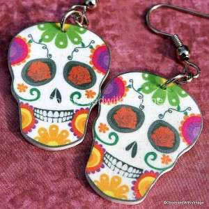 rainbow flower sugar skull day of dead charm earrings