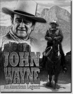 John Wayne American Legend TIN SIGN western vtg metal wall home decor