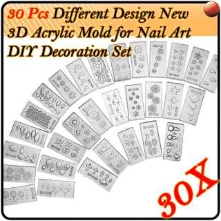 30 X Mix Style Design DIY New 3D Acrylic Mold Nail Art Decoration Kit