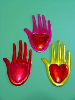 Mexican Tin Hamsa Hand of Fatima with Large Heart