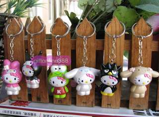6PCS Hello kitty character Key chain bag hang pendant