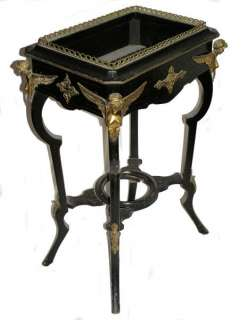 Antique French Napoleon III Ebonized Plant Stand