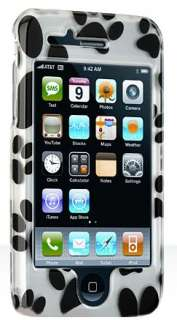 BLACK PUPPY PAW PRINT HARD CASE FOR APPLE iPHONE 3G 3GS