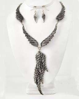 SILVER ANGEL WINGS CHARM CLEAR CRYSTAL NECKLACE EARRINGS FREE ZEBRA