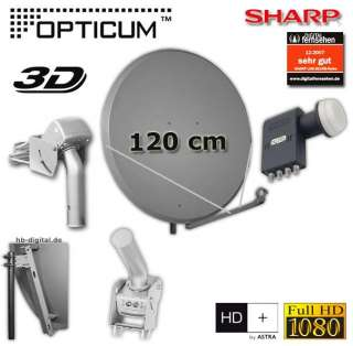Set Opticum Sat Spiegel 120 + Sat Motor MH1 + SHARP DIGITAL QUAD LNB