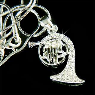 Crystal FRENCH HORN trumpet cornet Pendant Necklace NEW