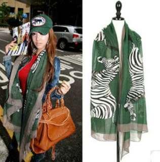 Womens Accessories Zebra Print Long Green Silk Scarf