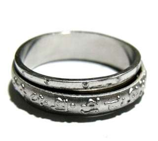 Tibetan silver OM Mani Padme Hum revolve Amulet Ring