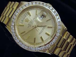 MENS ROLEX 18K GOLD DAY DATE PRESIDENT WATCH w/DIAMONDS
