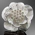 Blue Rose Shape Rhinestone Crystal Alloy adjustable Ring AR926
