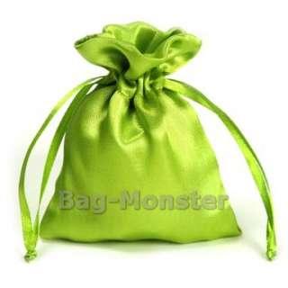 50 Moss Green Satin Wedding Favors Gift Bags 8X10.5cm