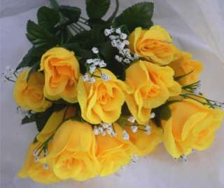 84 YELLOW Long Stem Silk Rose Buds Wedding Bouquet Centerpiece Roses