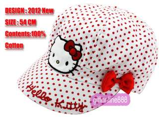 1667 White Hello Kitty Embroidered cotton sport Cap Hat