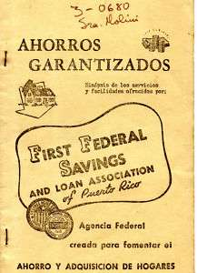 Puerto Rico 1940s Banking Booklet