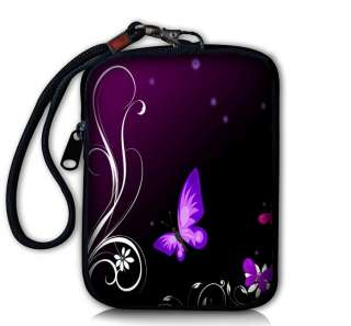 Purple Butterfly Digital Camera Case Bag Pouch + Strap