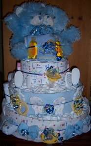 Baby Shower Twin 3 Tier Diaper Cake, Bear, Safari, Winnie the Pooh