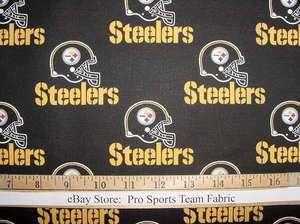 Steelers (Black) 100% Cotton Fabric   NFL Football Team Sports