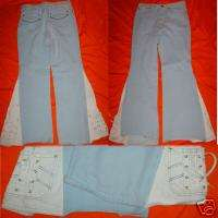 Vintage Cool Wrangler Sky Blue Bell Bottom 32 x 31 Jean