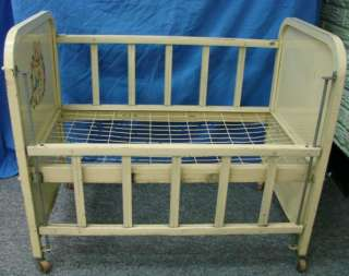 Antique Doll Baby Crib Bed by Amsco DOLL E CRIB Metal Tin Toy Wood