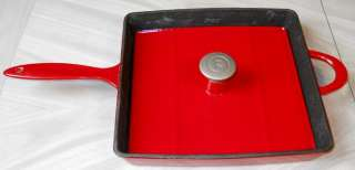 Red Enamel & Cast Iron Mario Batali Panini Grill Press Pan