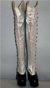 Vintage ~ LUICHINY   SPAIN ~ Silver Glitter & Black Latex Thigh High