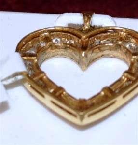 Diamond Heart 1.00ct 14K Yellow Gold pendant Round diam