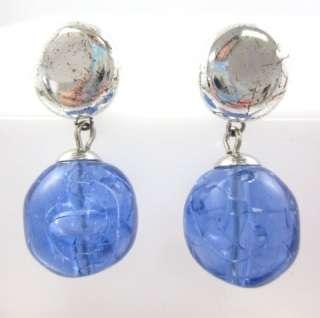GIVENCHY Silver Tone Blue Glass Dangle Earrings