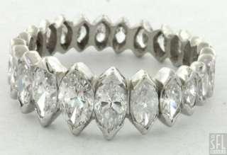 VINTAGE PLATINUM 3.0CT MARQUISE CUT DIAMOND ETERNITY BAND RING