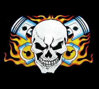 BIKER HOT ROD CROSSED PISTONS SKULL FLAMES T SHIRT DS52