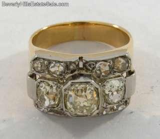 Superb Old Cut 2.75C Diamonds 18k Gold Ring
