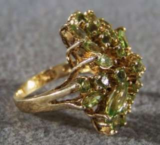 STERLING SILVER GOLD MULTI ROUND MARQUISE PERIDOT HUGE RING 6