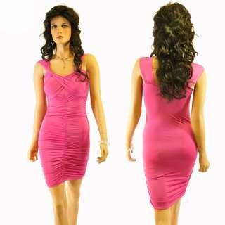 Gathered Criss Cross Club Evening Mini Dress Hot Pink S