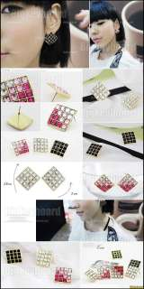 Korea Fashion Womens Girls Square Colorful Rhinestone Earrings studs