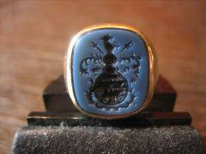 einmaliger Wappen Ring Siegelring Adelswappen 585 Gold