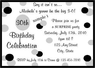 Personalized 30th Birthday Party Invitations