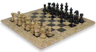Staunton Marble Chess Set Black & Coral Stone   16