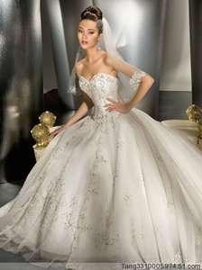 shoulder A line Chiffon Wedding Dress Bridal Gown New Free Ship