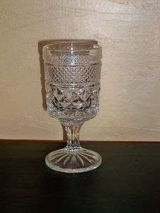 CLEAR DRINKING GOBLET/GLASS DIAMOND PATTERN, QUITE DECORATIVE