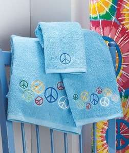 PEACE Sign 3 pc Blue Towel Set IN STOCK Bath, Hand, Washcloth Hippy