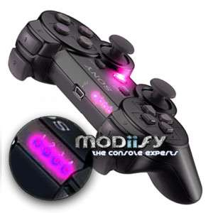 LED Mod PS3 Controller 1234 Button Player (Pink Purple)