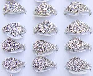 wholesale 100p charm WATCH rhinestone ring SILVER TONE