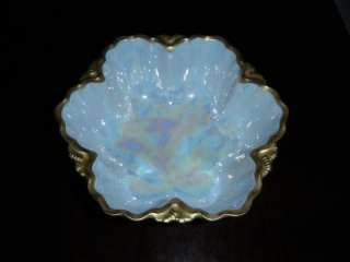 ANTIQUE 1912 MZ AUSTRIA CHINA OPALESCENT BOWL GOLD TRIM
