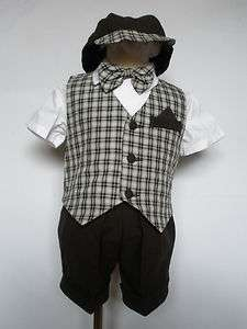 NEW INFANT BOY & TODDLER EASTER FORMAL PARTY VEST SUIT D.BROWN S M L