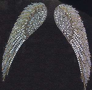 FAIRY ANGEL WING E iron on RHINESTONE DIAMANTE TRANSFER