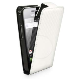 Magic Store   White Fibre Flip Leather Case Samsung Galaxy Ace S5830