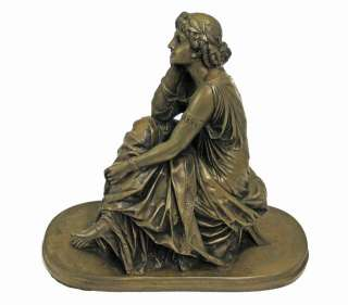 BRONZE LADY FIGURINE CAST RESIN SCULPTURE STATUE ART