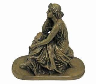 BRONZE LADY FIGURINE CAST RESIN SCULPTURE STATUE ART