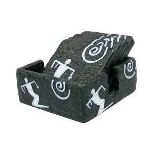 Hawaii Petroglyph Coasters 4 Pack Square Surfer: Kitchen