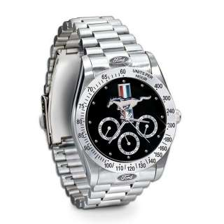 Ford Mustang Engraved Chronograph Watch Untamed American Spirit