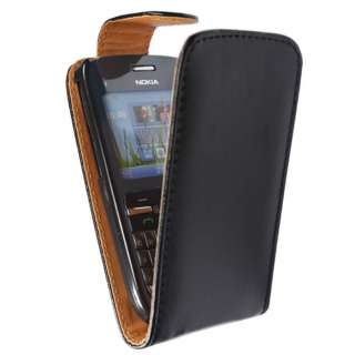 BLACK LEATHER FLIP CASE COVER POUCH FOR NOKIA C3 C3 00